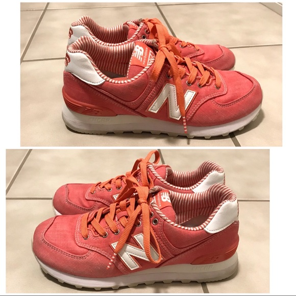 check out 763aa 3a58a Coral New Balance 574 — Beach Chambray